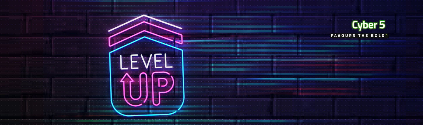 Arrow point up with Level Up written in the neon icon against a dark brick wall for Cyber 5 campaign