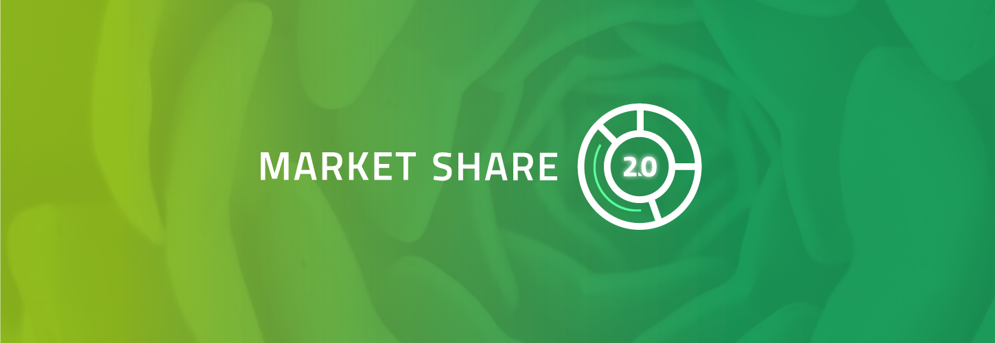 Market Share 2.0 on green succulent background