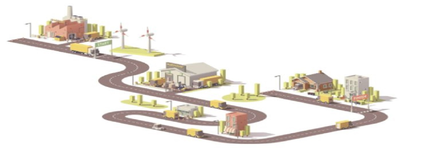 Road layout of small town with homes, buildings and automobile