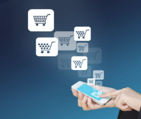 Person purchasing on their mobile device with multiple shopping cart icon