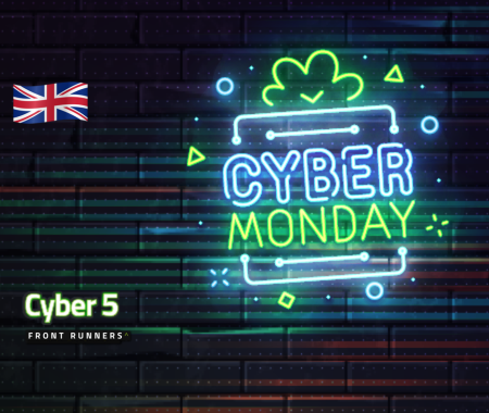 Cyber Monday neon sign against a dark brick wall for Cyber 5 Front Runner UK campaign
