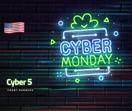 Cyber Monday neon sign against a dark brick wall for Cyber 5 Front Runner US campaign