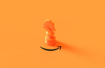 Orange Chess Knight piece above Amazon arrow logo