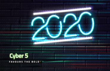 2020 Digital Commerce neon icon against a dark brick wall for Cyber 5 campaign