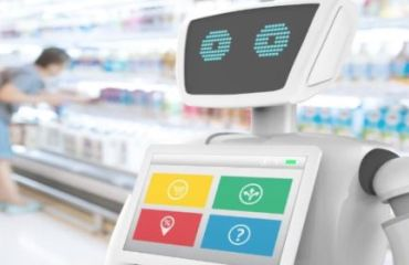 Robot in grocery store with customer shopping in the background