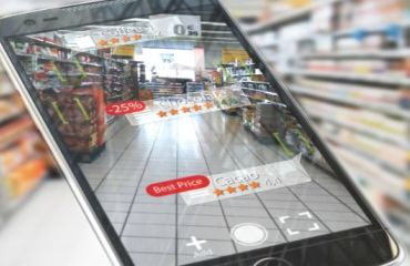 Mobile device in video mode in front of a grocery aisle